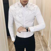 xs sexy ärmel kleid großhandel-Qualität Sexy Spitze Patchwork Smoking Herbst Neue 2018 Slim Fit Männer Langarm-shirt Casual Nachtclub Party Kleid Shirts Männer 3XL-M