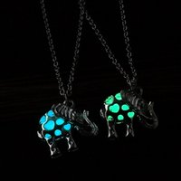 Wholesale White Resin Elephants - Hollow Out Heart Necklace Locket Jewelry Fluorescent Light Glowing in Dark Elephant Cage Pendant Chains Fashion Jewelry Gift for Women