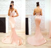 şeftali mermaid gece elbiseleri toptan satış-Şeftali Pembe 2018 Dantel Mermaid Gelinlik Sevgiliye Aplike Örgün Elbiseler Akşam Partisi Törenlerinde Vestidos de fiesta largos Custom Made