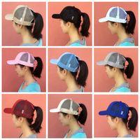 Wholesale kids mesh caps - cc hats women girls kids ponytail baseball hat Girl Softball hats back hole Pony Tail mesh cap sun hats