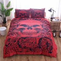 kırmızı keten yatak takımı toptan satış-Kırmızı Kafatası Baskılı Nevresim Seti 3 adet Tek Çift Kraliçe Kral Yatak Örtüsü Çarşaf Yatak Takımları (Yok Sac Dolum Yok)