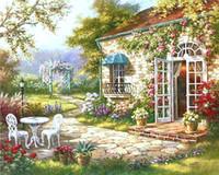 ev numarası toptan satış-Tek Chenisotry Bahçe Evi Sayılarla Diy Boyama Soyut Modern Yağlıboya Ev Duvar Sanatı Dekor Oturma Odası Yapıt Için 40x50 cm