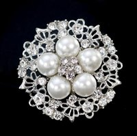 Wholesale Party Boutique Wholesale - Women Boutique Brooches Butterfly Flower Alloy Brooch Pearl Crystal Pins Lady Party Jewelry 12PCS Size 3.4*3.4cm Free Shipping