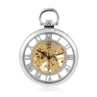 relojes antiguos de plata de las mujeres al por mayor-Skeleton Men Silver Mecánico Hand Winding Cool Romano número romano reloj de bolsillo Mujeres reloj Round Steampunk antiguo reloj