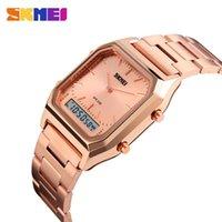 часы двойные цифровые часы оптовых-SKMEI мужчины женщины мода повседневная Кварцевые наручные часы цифровой двойное время спортивные часы хронограф водонепроницаемый мужские часы