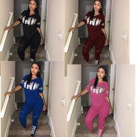Wholesale Wholesale Plus Size Tops - Plus Size Women Love Pink Letter Tracksuit Spring Summer V-Neck T-shirt+pants 2pcs set Casual Sports Yoga Fitness Tops and Jogger Suit XXXL