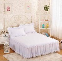 Wholesale full size bedding for girls online - Snow White Lace Bed Skirt Pillow Cases Wedding Princess Bedding Girls Bedspread Bed Sheet For Gifts King Queen Full Size