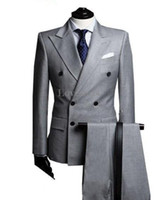 ingrosso migliori giacche di moda-2018 Nuovo Arrivo Custom Made Moda Grigio Chiaro Doppio Petto Vestito Affari Mens Abiti Da Sposa Groom Smoking Best Suit (Jacket + Pant + Tie