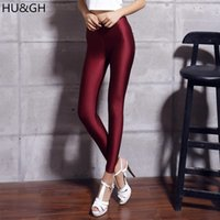 Wholesale leggings shiny size - HU&GH New 20 Candy Colors Solid Fluorescent Leggings Women Casual Plus Size Multicolor Shiny Glossy Legging Female Elastic Pant