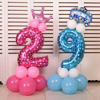 mavi rakam toptan satış-32 inç Pembe Mavi Numarası Folyo Balonlar Haneli Balonlar Helyum Doğum Günü Düğün Dekorasyon Hava Balonları Olay Parti Malzemeleri