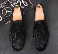 wedding shoes embroidery 2018 - 2018 New style Italian Men loafers Embroidery Slippers Smoking Slip-on Shoes Luxury Party Wedding Black Velvet Dress Shoes Men's Flats GG6