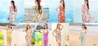 Wholesale Wholesale V Neck Wrap Dress - Women Summer Floral Bikini Cover Up Print Sexy Pareo Beach Dress Bohemian Sarong Chiffon Beach Bikini Wrap Swimwear covers Scarf Shawl Brace