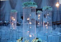 Wholesale Artificial Crystals For Decoration - slive mental crystal acrylic 74 centerpieces for wedding table,artificial 123c flower stand for wedding table decoration