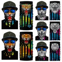 Wholesale Green Monkey Wholesale - 10 Styles Funny Animal Mask Seamless Scarf 3D Riding Collar Tiger Lion Panda Gorilla Monkey Magic Scarf Halloween Headscarf Free DHL G709F