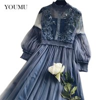 сказочные стенды оптовых-Women Lace Mesh Dress A-Linen Hollow Out Long Lantern Sleeve Stand Collar Fairy High Waist Dress Mid-Calf Fashion 803-486