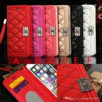 iphone case perçinler toptan satış-Marka Perçin Lingge Çevir Cüzdan Kılıf Telefon Kılıfı kapak için iPhone 7 7 artı 8 8 artı 6 6 artı X Kart Yuvası
