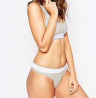 Wholesale sexy thongs for girls - Fashion Brand Women Bra+Thong Underwear Set for Sports High Quality Cotton Seamless Sexy Lady Bra Suit for Girls
