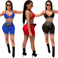 44e9a1acd655 Factory Sexy 2 Piece Set Women Cami Crop Top With Shorts Set 2018 Summer  Slim Casual Racing Plaid Print Two Piece Set