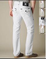 Wholesale Leather Pants Skinny Jeans - Good Quality New Men's Leather Religion Rock Revival TR Jeans Crystal Rib Denim Pants Designer Pants Men's Size 30-40