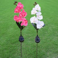 Wholesale solar plastic flowers - Phalaenopsis Flower LED Light 5 Heads Artificial Flowers Lawn Lamps Vivid Garden Solar Energy Lights Top Quality 25wna YB