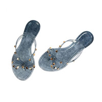 Wholesale big bow shoe flat for sale - Hot Fashion Woman Flip Flops Summer Shoes Cool Beach Rivets big bow flat sandals Brand jelly shoes sandals girls size