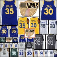 Wholesale blue curry - 30 Stephen Curry 35 Kevin Durant Golden State Warriors Jersey Men's 2018 Finals Bound Break Blue White Black Basketball Jerseys