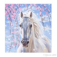 at resimleri toptan satış-5D Diy Elmas Boyama Kitleri Beyaz At Çapraz Dikiş Nakış İğne Tuval Resim Sergisi Çerçevesiz Nefis Çocuklar Hediye Için 11lx jj