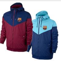 Wholesale club sportswear - Men Soccer Sportswear Barcelona Bassar Football Club Training Suit Coat Autumn Long Sleeve Zipper Sportswear Casual Sport Windbreak