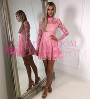 Wholesale long sleeve cocktail dress sales - 2018 Elegant Lace High Neck Cocktail Dresses Long Sleeve Illusion A Line Short Mini Party Gown Custom Made Hot Sale