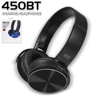 einziehbares bluetooth großhandel-450BT drahtlose Kopfhörer Bluetooth Headset Musik-Player einziehbares Stirnband Surround Stereo-Kopfhörer mit Mikrofon für PC Smartphone MP3 in Box