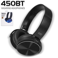 Wholesale wireless mp3 player blue black for sale - 450BT Wireless Headphones Bluetooth Headset Music Player Retractable Headband Surround Stereo Earphone with Mic for PC Smartphone MP3 in Box