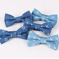 Wholesale British Bowtie Style - Fashion Anchor Bow Tie Men's Cotton Butterfly for Suits British Style Bowtie Blue Fishbone Skulls Printed Wedding party Cravat