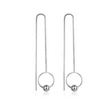 pendientes largos de plata al por mayor-Pendientes largos de perlas redondas de cobre de la caja de plata de la caja larga Pendientes colgantes simples lindos para chicas jóvenes # EA101995