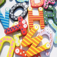Wholesale wooden alphabet stickers resale online - Baby Wooden Alphabet Letter Fridge Magnets Wooden Cartoon Fridge Magnets Educational Learning Study Cartoon Toy Unisex Gift