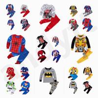 ingrosso baby clothes superman-New Spring Autunno Baby Boy Bambini Autunno vestiti Autunno pantaloni Superman Spider-Man Batman Capitan America vestiti per la casa Pigiama T7G001