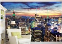 pintura cenário venda por atacado-personalizado foto papel de parede Bela paisagem da cidade nova iorque noite cena tv fundo pintura de parede