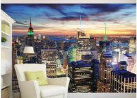 peinture de fond de paysage achat en gros de-photo personnalisée fond d'écran Belle ville paysages new york nuit scène tv fond peinture murale