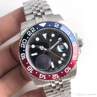Wholesale types men watches for sale - Group buy 2018 New Product Silver Sapphire Greenwich Type II BLRO Gmt Automatic Movement Black Dial MM Ceramics High Quality men watch