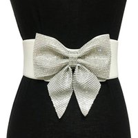Wholesale black elastic rhinestone belt for sale - Group buy High quality casual Crystal Rhinestone bow knot belts for women Bride Wedding Party elastic wide Bridal Dress Belt accessories