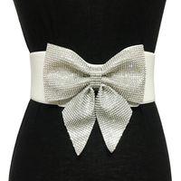 elastische gürtel hochzeit großhandel-Qualitäts-beiläufiger Kristallrhinestone Bogen-Knoten Gurte für Frauen Braut-Hochzeits-Partei elastisches breites Brautkleid-Gurtzubehör