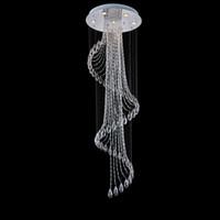 lampara de perla negra al por mayor-Araña de cristal moderno espectacular LED esfera espiral gota de lluvia del techo K9 artefacto de iluminación para la sala de estar del hotel Pasillo Entrada de forma Foyer