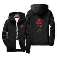 chaquetas de flores al por mayor-Rose Floral Chaqueta ligera para hombres con sombrero Chaqueta delgada con capucha impermeable Chaqueta Winderbreaker Hombres Mujeres Amante Abrigos casuales