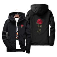 Wholesale waterproof hats women - Rose Floral Men's Lightweight Jacket With Hat Thin Waterproof Hooded Jacket Winderbreaker Jacket Men & Women Lover Casual Coats