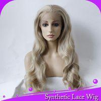 spitzeperücke mischung braune blondine großhandel-MHAZEL 26in echtes Bild lange gewellte braune 7 # blonde gemischte # 613 lange synthetische vordere Spitzeperücke Mittelteil