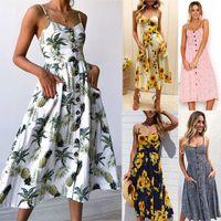 Wholesale Long Maxi Evening Skirts - 2018 NEW Womens Maxi Boho Floral Summer Beach Long Skirt Evening Cocktail Party Dresses