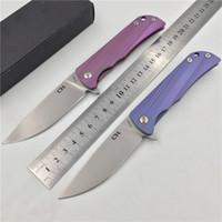 couteau matériel de poignée achat en gros de-Livraison gratuite, CH NOUVEAU couteau pliant parallèle, matériau de la lame: D2, matériau de la poignée: alliage de titane TC4, outils de sport de plein air à la main, cadeau.