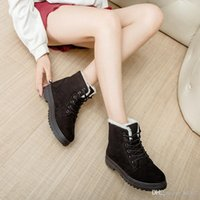 zapatos planos de felpa para las mujeres al por mayor-Popular Winter Lady Short Tube Snow Boots Keep Warm Cotton Padded Shoes Moda Mujeres Flat Heel Plush Insole Muchos colores 30cj ZZ