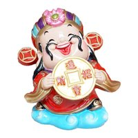 Wholesale People Cartoon Drawings - Sculpture cartoon version God of wealth hold the big coins God of wealth home decoration Piggy bank