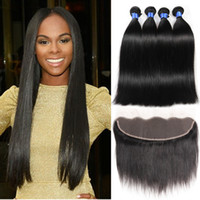 Wholesale Thick Brazilian Hair Bundles - 13x4 Lace Frontal With Bundles 100% Unprocessed Brazilian Straight Virgin Human Hair 4 Bundles Cheap Wholesale Bleached Wet And Weavy Thick