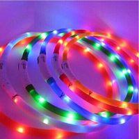 flaş usb kablosu led toptan satış-LED pet köpek tasması ışık renkli Şarj Edilebilir USB Aydınlık Ayarlanabilir 70 cm Gece Yanıp Sönen hayvan malzemeleri ile usb kabloları